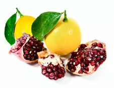 Free Lemons And Pomegranate Stock Photography - 25533382