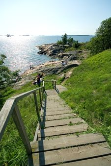 Free Stairs Down To Cliff Stock Image - 25536761