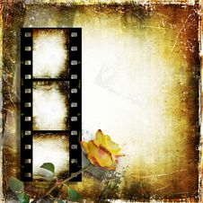 Vintage Background With Film Strip And Roses Stock Photos