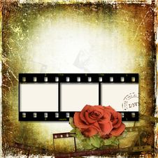 Free Grunge Background With Film Frame And Roses Royalty Free Stock Image - 25537736