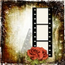 Free Grunge Background With Film Frame And Roses Royalty Free Stock Photography - 25537747
