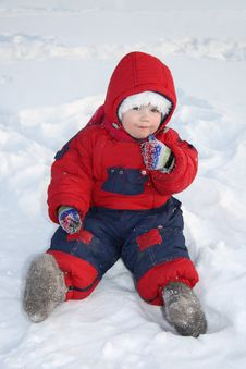 Free Little Girl Sits On Snow And Eats Snow At Winter Stock Photography - 25540882