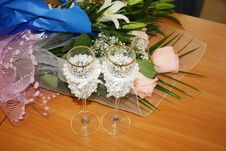 Two Beautiful Wedding Glasses And Flowers