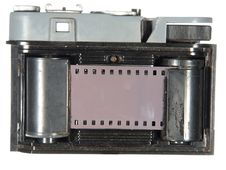 Very Old Classic Camera, Rear View, Cover Removed Stock Photography