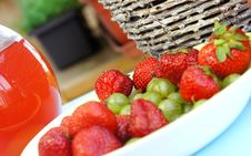 Free Strawberries, Gooseberry, Basket And Compote Stock Image - 25554141