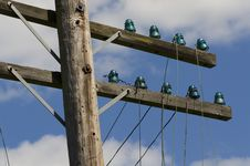 Free Old Telegraph Wires Dangling From Pole Royalty Free Stock Photography - 25557327
