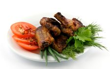 Free Barbecued Pork Ribs On White Plate Stock Photography - 25557922