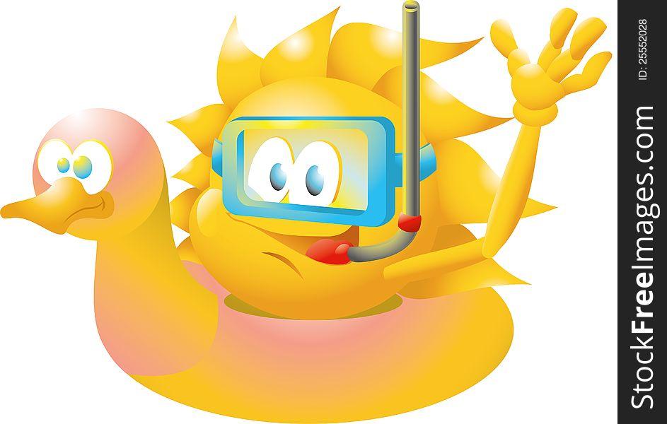 Sun on floating duck