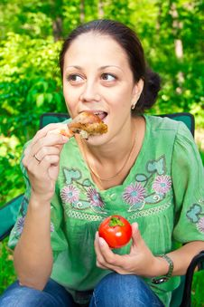 A Woman On A Picnic Royalty Free Stock Photography
