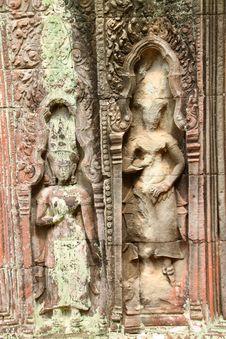 Free Apsara Sandstone Carving Stock Photo - 25563710