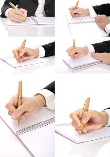 Set Of Hand Writing Woman Stock Photo