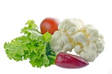 Fresh Vegetables Isolated On White.1 Stock Images