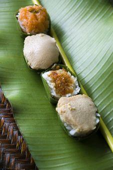 Thai Dessert On Banana Leaf Stock Image
