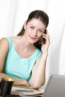 Free Attractive Young Business Woman On The Phone Stock Photography - 25571272