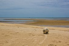 Free Old Soccer Ball On Beach Stock Images - 25572294