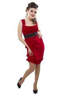 Free Woman The Asian In A Red Dress Stock Photography - 25573332