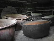 Group Of Old Rusty Large Iron Kettles. Stock Images
