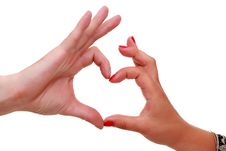 Free Women S And Men S Hands Gesturing Heart Sign Royalty Free Stock Photography - 25580797