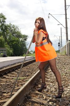 Free The Girl In An Orange Waistcoat Royalty Free Stock Photography - 25583987