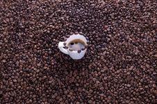 Free Coffee Cup On A Lot Of Coffee Beans Stock Photography - 25589412