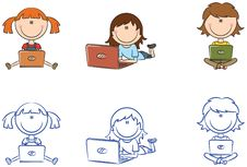 Free Cute Cheerful Girls With Laptops Royalty Free Stock Images - 25591909