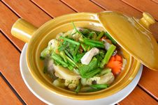 Baked Fish With Vegetables,Thai Food Stock Photo
