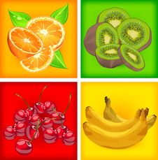 Free Four Banners With Fruits Stock Images - 25596824