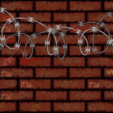 Free Brick Wall And Razor Wire Royalty Free Stock Images - 25598159