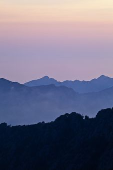 Free Sunset In Mountains, Landscape In Corsica Royalty Free Stock Photography - 25599267