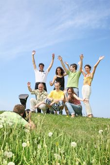 Free Group Is Joyfully Photographed Stock Photography - 2568152