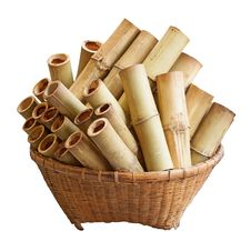 Thai Tradition Bamboo Basket And Bamboo Cooking Royalty Free Stock Images
