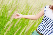 Free Woman S Hand Touching Green Grass Royalty Free Stock Photos - 25601838