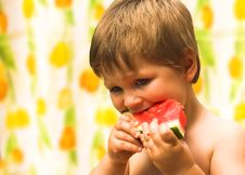 Free Boy Eating A Watermelon Stock Photo - 25602020