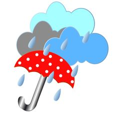 Free Red Umbrella With The Rain Stock Images - 25604514
