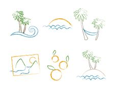 Free Set Of Summer Holiday Sketchs Royalty Free Stock Photo - 25604675