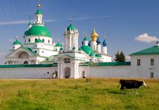 Free Cow Goes Past The Monastery In Rostov Stock Images - 25607834