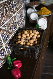 Free Walnut In Basket Royalty Free Stock Photo - 25609935