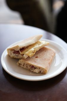Two Ham And Cheese Sandwiches On A Plate Royalty Free Stock Images
