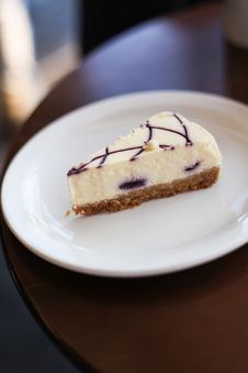 Free A Pice Of Vanilla Cheesecake On A Plate Royalty Free Stock Images - 25613229
