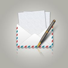 Free Postal Envelope And Pen Stock Photos - 25623613