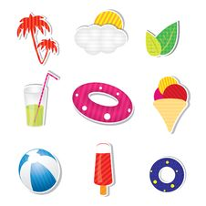 Free Vector Summer Icon Set On White Background Royalty Free Stock Photos - 25624538