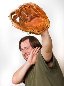 Guy Afaid Of The Ball. Stock Photo