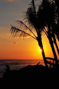 Free Sunset At Bali Beach Royalty Free Stock Image - 25626706