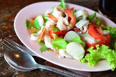 Free Spicy Seafood Salad Stock Image - 25628091