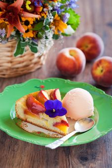 Free Peach Pie With Ice Cream Stock Image - 25628131