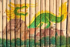 Free Thai Temple And Dragon Painting On Bamboo Fence Royalty Free Stock Image - 25629256