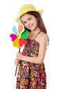 Free Smiling Girl With Colorful Windmill Royalty Free Stock Photo - 25636175