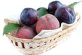 Free Ripe Peaches And Plums In The Basket Royalty Free Stock Photos - 25639238
