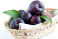 Free Plums In Wooden Basket Royalty Free Stock Photo - 25639245