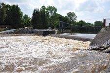 Big Water On Weir Strakonice Stock Image